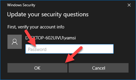 Change security questions - enter user account password