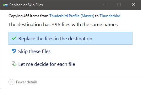 Thunderbird backup - replace files