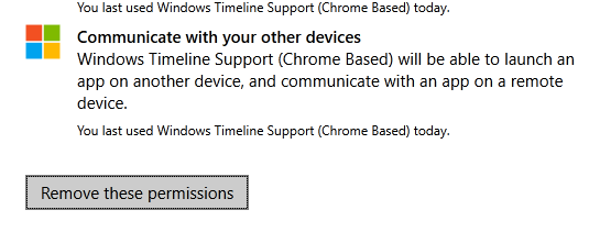 Win10 timeline - remove permissions chrome