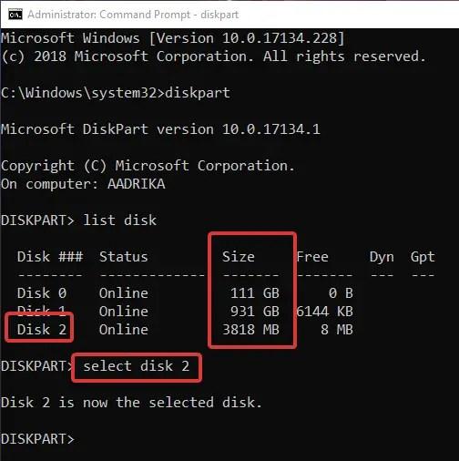 Format usb drive cmd select usb drive