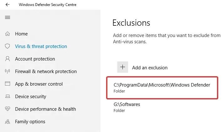 Windows defender folder added to exclusion list