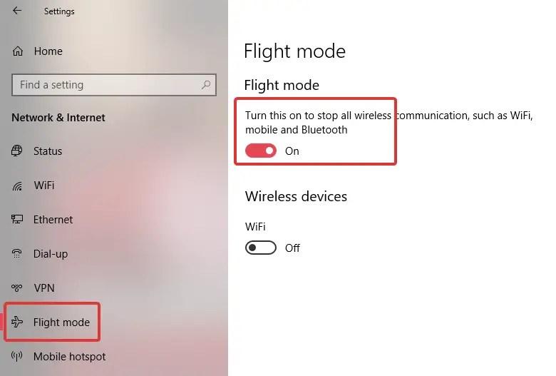 Enable flight mode