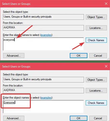 Restricted folder add everyone user