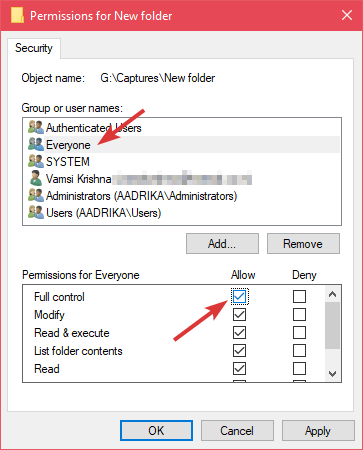 Restricted folder select allow