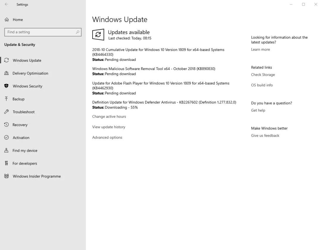 Kb4464330 update from settings app
