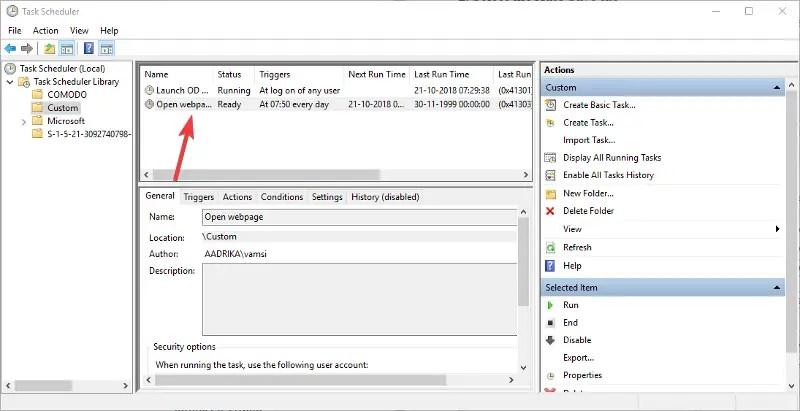 Task scheduler task created