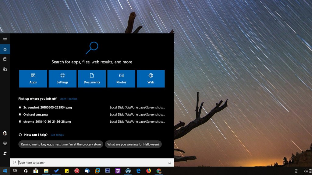 Windows 10 cortana start menu search