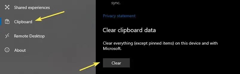Clear clipboard from settings app