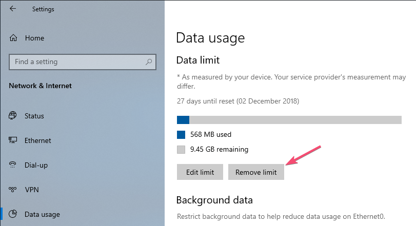 Stop automatic updates data limit