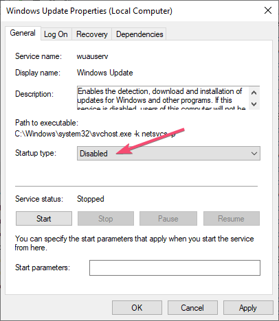 Stop automatic updates select disabled
