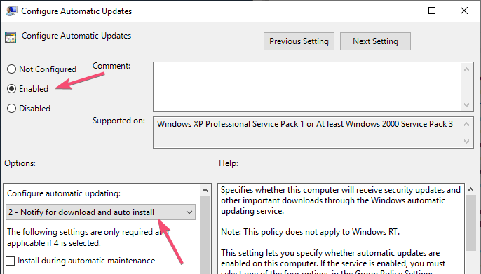 Stop automatic updates set policy settings