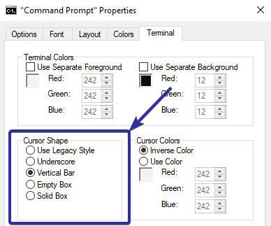 Change cmd or powershell cursor shape