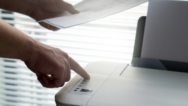 Pressing printer print button