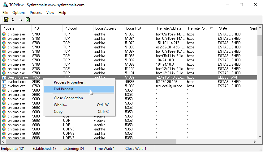 Check ports in use windows 10 03