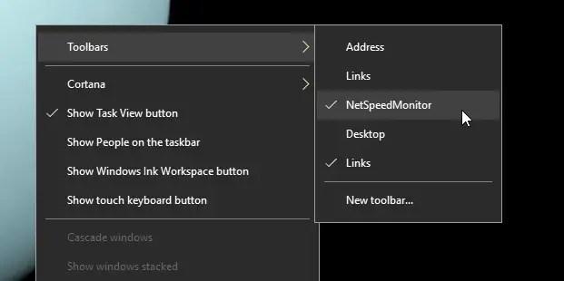 Windows 10 bandwidth monitoring toolbar 15
