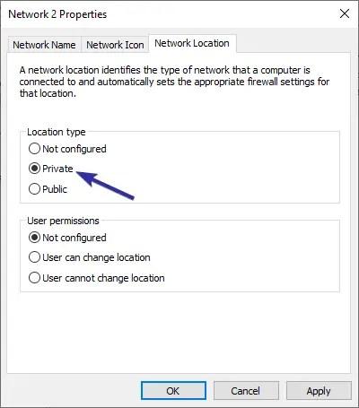Windows 10 change network location type 08