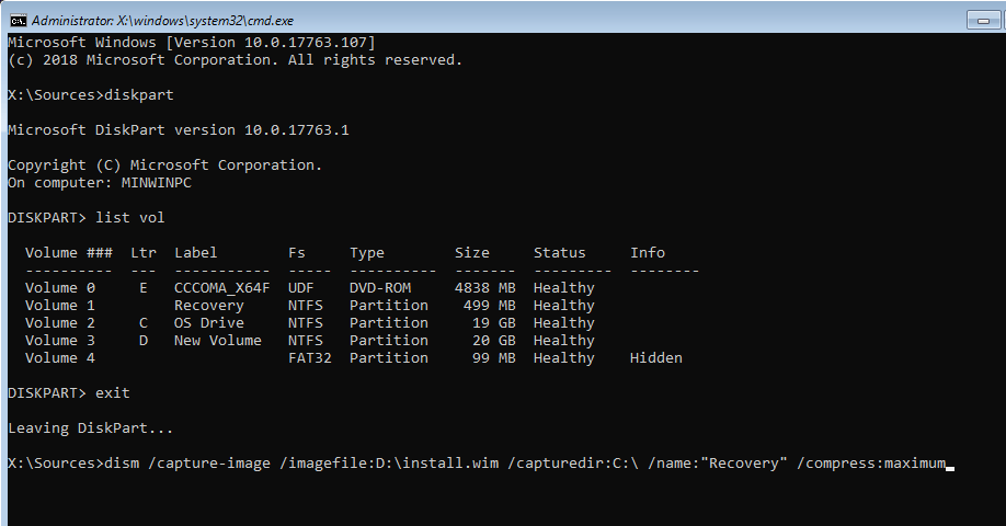 Windows 10 create recovery partition 06