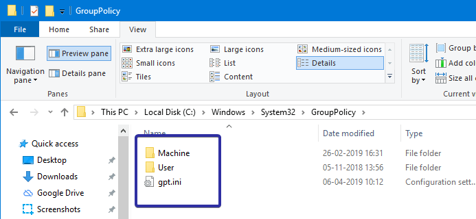 Backup group policy settings 03