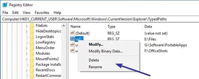 Delete file explorer address bar history 07