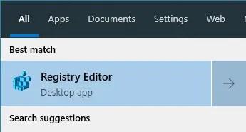 Registry start menu search