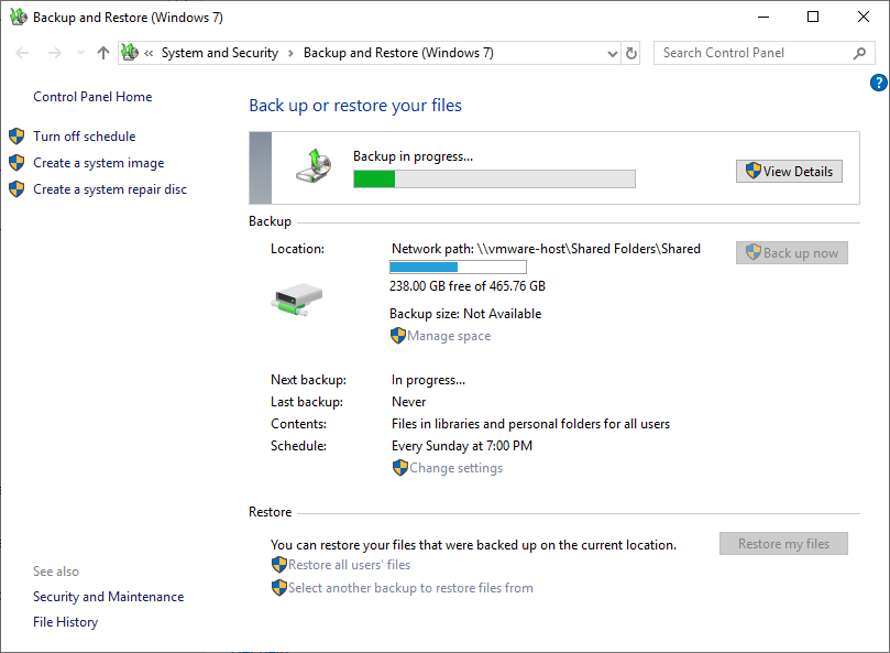 Windows 10 backup to network drive 10