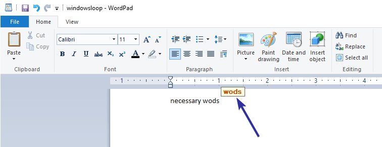 Wordpad spell check 04