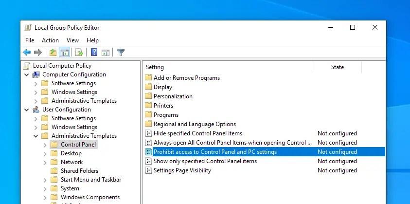 Disable windows 10 pc settings app 03