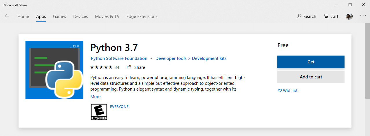 Install python from microsoft store 02