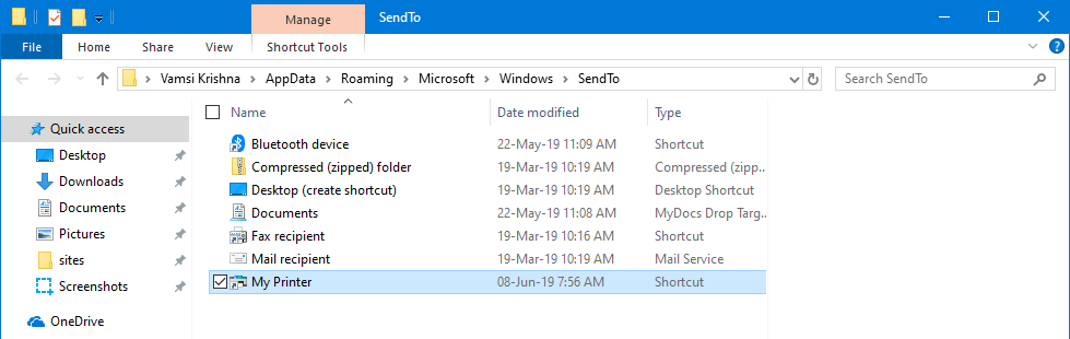 Add printer to send to menu 05