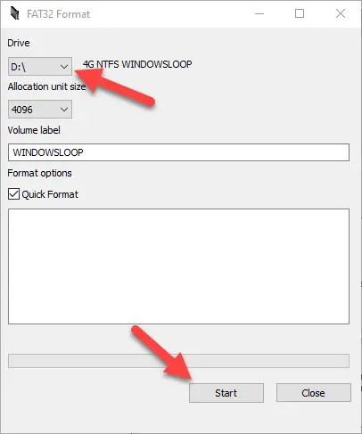 Windows 10 format in fat32 - 09