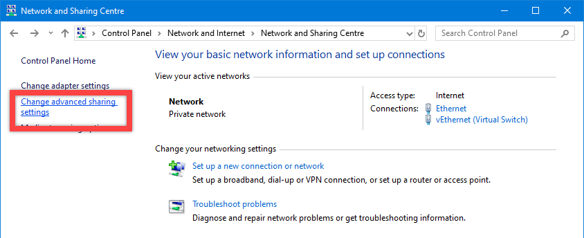 Windows 10 network discovery - click change advanced options link
