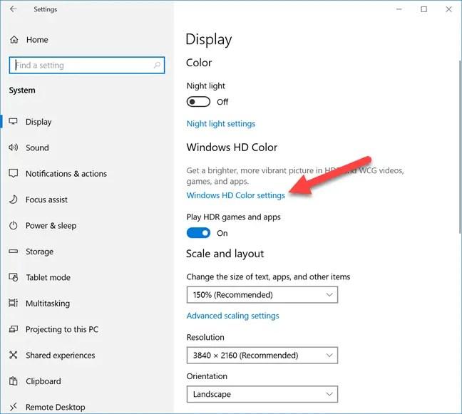 Windows had color settings link