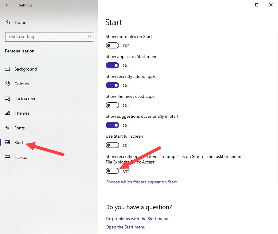 Clear recent files in win10 - turn off recent items in pc settings app