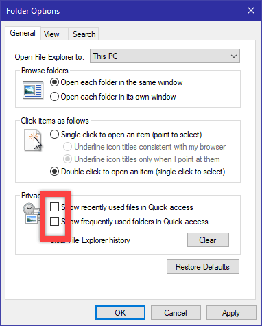 Clear recent files in win10 - uncheck check boxes