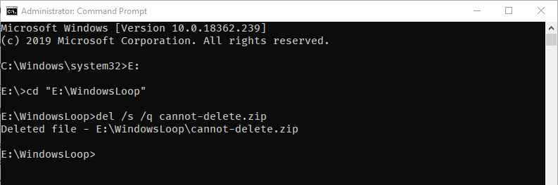 Cmd to force delete file - execute delete command