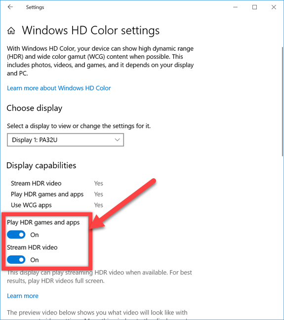 Enable hdr options