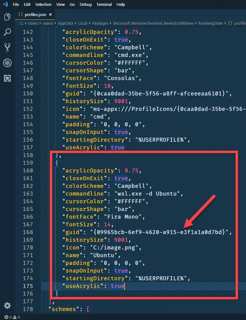 Ubuntu in windows terminal - add the code with guid
