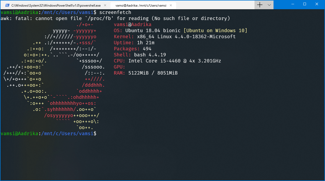 Ubuntu in windows terminal - ubuntu working in windows terminal