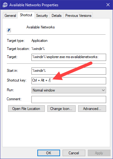 Win10 available networks shortcut - assign shortcut