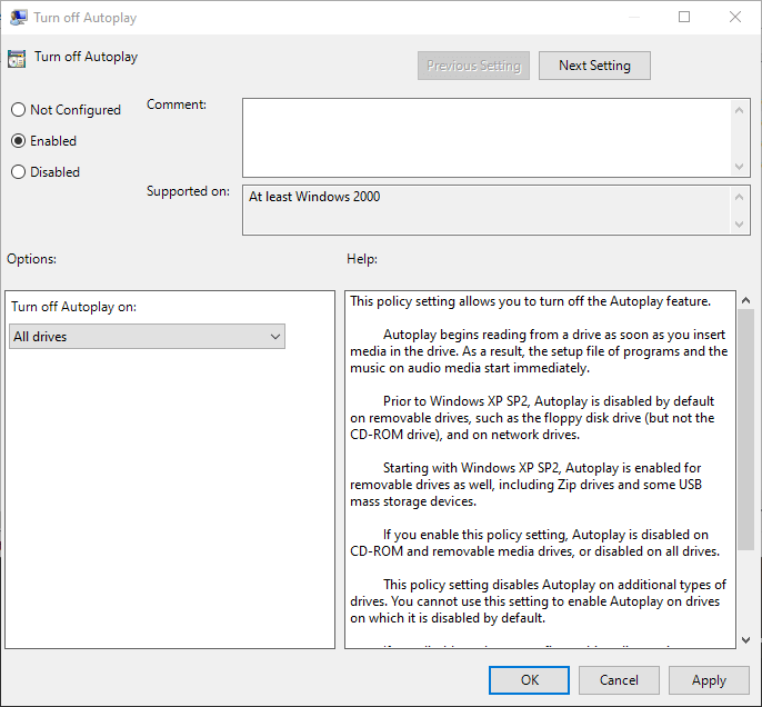 Win10 disable autorun - set policy
