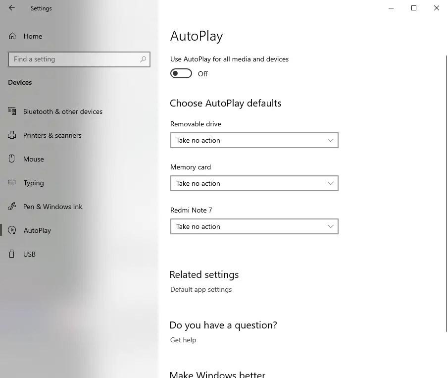 Win10 disable autorun - turn off autoplay