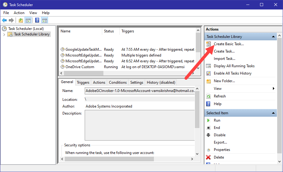 Win10 display message task scheduler - select create basic task option