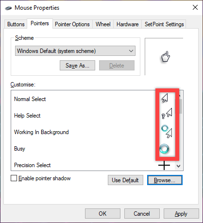 Win10 left hand mouse pointer - all pointers changed