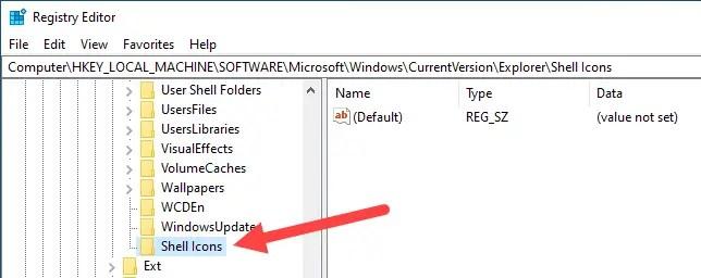 Win10 remove shortcut arrow - name the new key