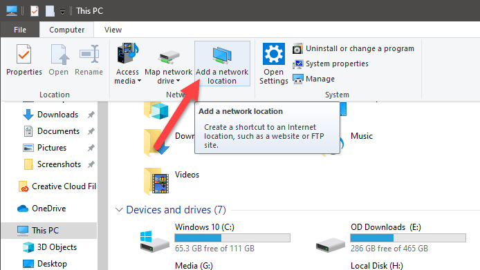 how to map ftp drive as network location in windows 10