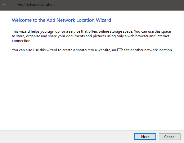 Windows 10 map ftp as drive - click next 1