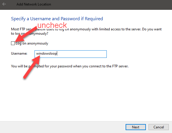 Windows 10 map ftp as drive - enter frp username