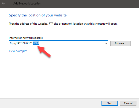 Windows 10 map ftp as drive - enter ftp url