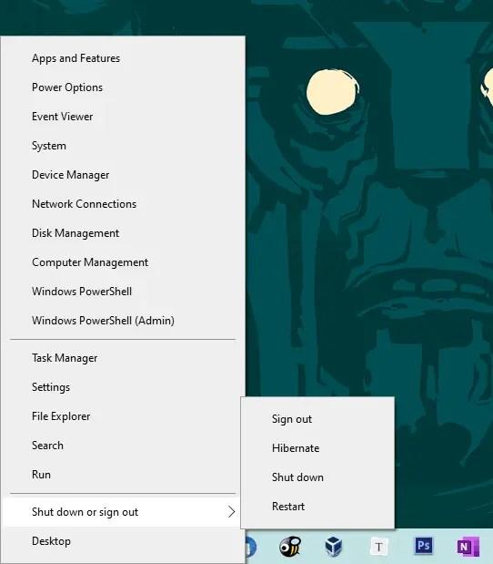 Windows 10 start menu sleep option - 06 - sleep option removed from power user menu