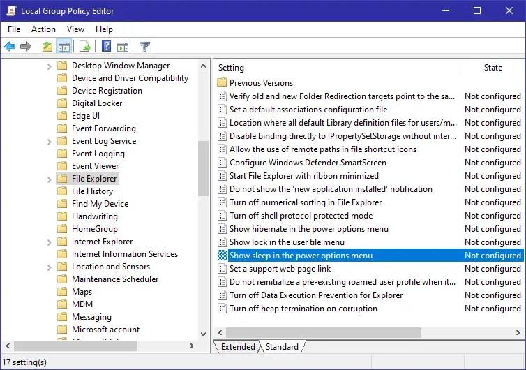 Windows 10 start menu sleep option - 10 - open policy